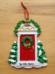 door with wreath personalised christmas tree decoration