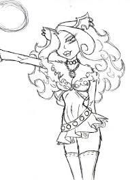 clawdeen wolf sketch coloring page monster high pinterest
