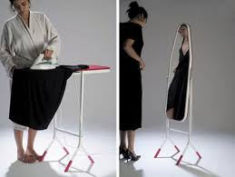An Ironing Board That Flips Over And Becomes A Standing Mirror - Ironing table designs