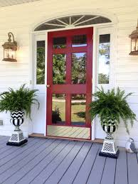red front door simple vintage styled red entry door with mirrored glass door