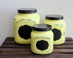 yellow canister set etsy