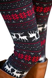 red patterned leggings womens reindeer snowflake printed elastic tight christmas leggings