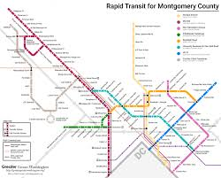 Dmv Metro Map by A Map Of Montgomery County U0027s Rapid Transit Future U2013 Greater