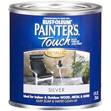 rust oleum 240288 painters touch 1 2 pint latex satin silver