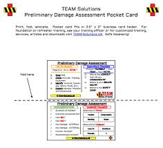Make A Business Card Free Online Printable Preliminary Damage Assessment Pocket Card For Disaster Response