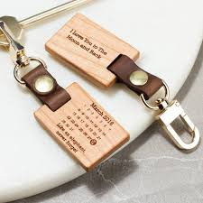 wooden keychains personalised never forget calendar keyring by create gift