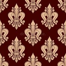 What Is Floral Pattern In French | beige french lilies pattern on red background stock vector