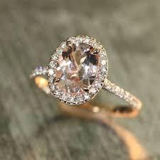 morganite gold engagement ring halo diamond and morganite engagement ring in 14k gold 9x7mm