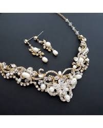 bridal necklace set pearl images Fall sale bridal jewelry set gold bridal necklace and earrings