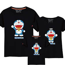 95 cotton 5 silk doraemon t shirts family matching
