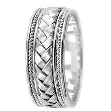 mens 14k white gold wedding bands braided wedding band weave ring for men women 14k gold