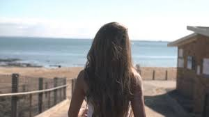 black hair for the beach lady on beach and field stock footage collection by daomay keo