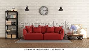 Living Room With Red Sofa by Modern Interior Living Room Red Sofa Stock Illustration 390994408