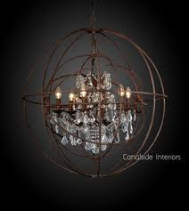 Iron Orb Chandelier Foucault Iron Orb Crystal Chandelier In Stock Canalside Interiors