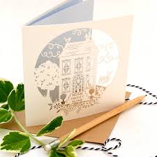 new home home sweet home blue lasercut greeting card by the
