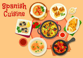de cuisine espagnole le dîner sain de cuisine espagnole bombe l icône illustration de