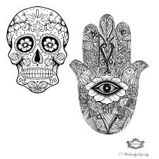 sugar skull and hamsa design by wickedly lovely