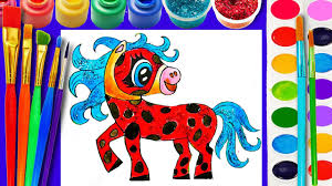 ladybug horse cute coloring page for children learn to color for