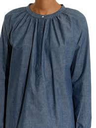 chambray blouse lyst m i h gathered chambray blouse in blue