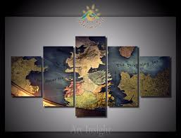 game of thrones home decor 5 pieces set the game of thrones map modern wall decor home