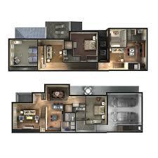 Townhouse Blueprints by 3d Townhome Floor Plan Rendering D Plans U0026 Drawings Pinterest