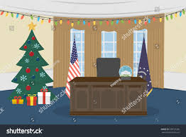 oval office white house christmas tree stock vector 538727260