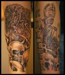 skulls wolf pope half sleeve