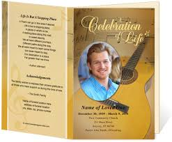 Funeral Program Covers Funeral Bulletins Template Guitar Single Fold Musical Theme