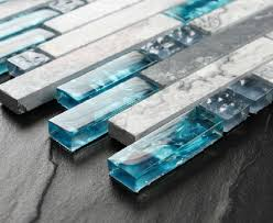Blue Shell Tile Glass Mosaic Kitchen Backsplash Tiles SGMT Grey - Stone glass mosaic tile backsplash