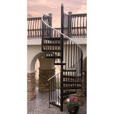 Lowes Stair Rails by Shop The Iron Shop Houston 66 In X 10 25 Ft Black Spiral Staircase