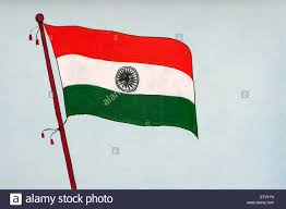Flag If India Tricolour National Flag Of India Painted On Wall On Republic Day