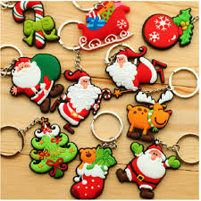 santa claus christmas custom pvc soft keychain christmas tree