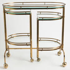 Folding Kitchen Cart by Mid Century Brass And Glass Folding Bar Cart