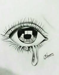 draw an eye with teardrop by by me steemit