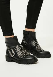 biker boot style black studded fringe u0026 buckle biker boots missguided
