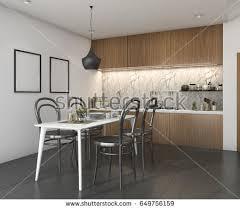 3d rendering wood vintage kitchen dining stock illustration