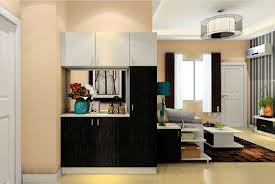 interior design with black and white partition cabinet interior