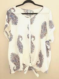 lucky brand women u0027s top 2x paisley tie front cotton peter dunham