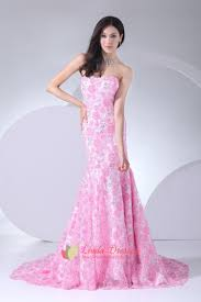 floor length pink strapless prom dresses lace mermaid evening