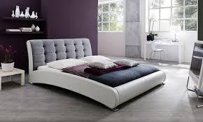 White Platform Bed Frame Gray U0026 White Upholstered Platform Bed In King Size Groupon