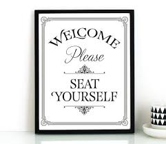 funny bathroom wall art printable please seat yourself sign