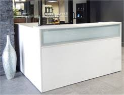 L Shaped Reception Desks L Shaped White Reception Desk W Frosted Glass Panel
