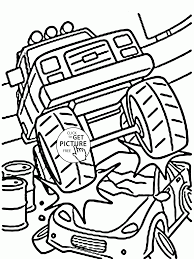 smashing monster car coloring page for kids transportation