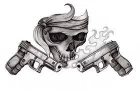 skull with gun by grizzlygreeneyes on deviantart gun skull gun n