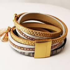 leather bracelet with gold images Gold leather bracelet soona new york jpg