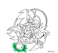 sonic the hedgehog coloring page sonic shadow silver lineart by darkcatsoul on deviantart
