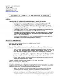 Mechanical Engineering Technologist Resume Sle mechanical technician resumes pertamini co