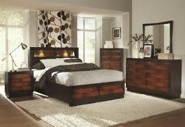 Modern Bed With Headboard Storage 202911 Rolwing Bedroom By Coaster In Oak U0026 Espresso W Options