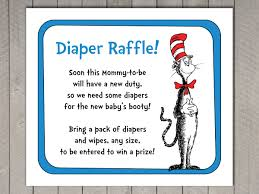 dr seuss baby shower diaper raffle invitation insert and