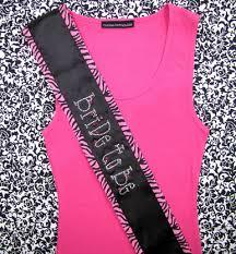 custom sash pink zebra rhinestone to be sash bachelorette party sashes